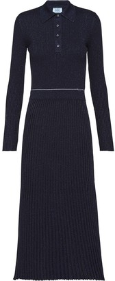 Prada metallic rib-knit dress