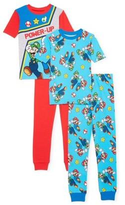Nintendo Mario Boys Exclusive 4-10 Short Sleeve Long Pant Cotton Tight Fit Pajamas, 4-Piece Set
