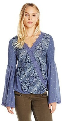 Taylor & Sage Women's Engineered Printed Wrap Long Sleeve Top