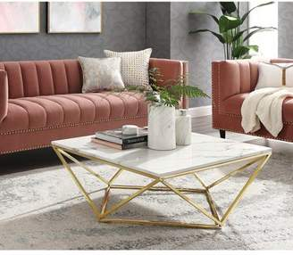 Inspired Home Whitlaw White/Gold Coffee Table - MarbleTop, Polished Gold Geometric Base
