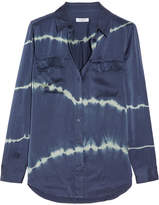 Equipment Slim Signature Tie-dyed Washed-silk Shirt - Storm blue