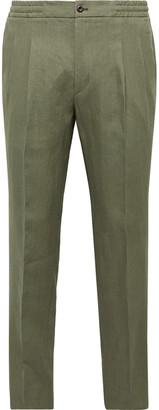 Tapered Pleated Linen Drawstring Trousers