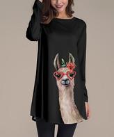 BEIGE Nanu Women's Tunics Black - Black & Llama Face Long-Sleeve Tunic - Women & Plus