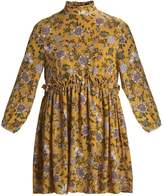 Missguided HIGH NECK MUSTARD FLORAL WAISTBAND Summer dress mustard