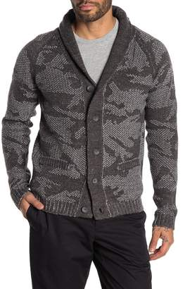 HEDGE Camo Shawl Collar Button Cardigan