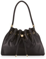 Salvatore Ferragamo Simona Drawstring Leather Shoulder Bag, Nero