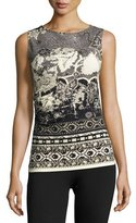 Fuzzi Sleeveless Ruched Batik Scuba Top, Black/White
