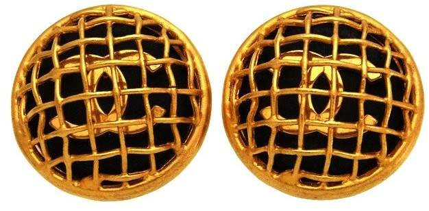Chanel CC Logo Gold Tone Metal Net Black Round Earrings