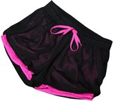 Baiyu Net Mesh Women Fitness Yoga Sports Shorts Pants Gym Pants Sport Shorts Casual Stretch Breathable Double Layers Fast Dry shorts Ladies Running Sports Clothing Size M-Rose red1