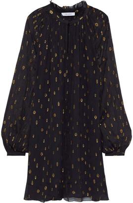 Frame Gathered Metallic Fil Coupe Chiffon Mini Dress