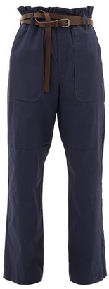 Sea Scott Belted Paperbag Stretch-cotton Trousers - Womens - Navy
