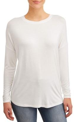 Time and Tru Women's Drop Shoulder Raw Edge T-Shirt