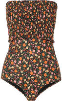 Ganni Ipanema Shirred Floral-print Halterneck Swimsuit - Black