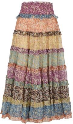 Zimmermann Carnaby floral-print silk midi skirt