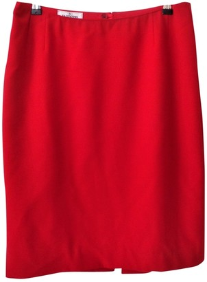 Valentino Red Wool Skirt for Women Vintage