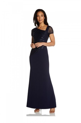 Adrianna Papell Sequin Crepe Dress In Midnight