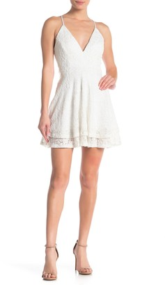 Love, Nickie Lew Glitter Lace Racerback Skater Dress