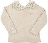 Mademoiselle Charlotte Metallic Knit Sweater & Embellished Necklace-GOLD