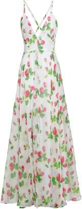 Milly Floral-print Silk-voile Halterneck Maxi Dress