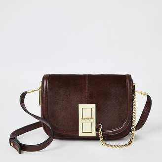 River Island Purple leather lock front cross body bag