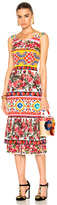 Dolce & Gabbana Charmeuse Printed Dress in Abstract,Floral,Pink,Red.