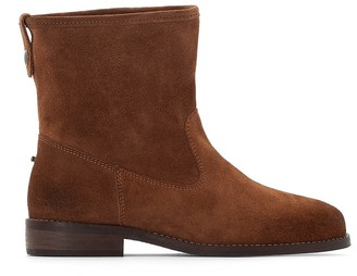 La Redoute Collections Suede Western Ankle Boots with Faux Fur Lining