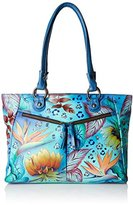 Anuschka Hand-Painted Leather Large Shopper Bag with Front Pockets