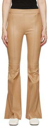 Rosetta Getty Tan Leather Pintuck Flare Pants