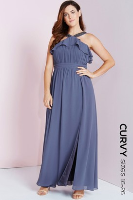 Little Mistress Lavender Grey Maxi Dress With Ruffle