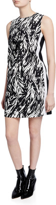 No.21 Zebra-Print Sleeveless Short Shift Dress