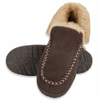 Chaps Men's Suede Moccasin Slipper House Shoe with Memory Foam Indoor/Outdoor Nonslip Sole Slipper