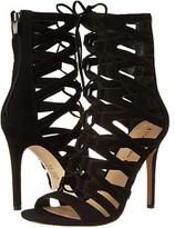 kim kardashian  Who made  Kim Kardashians cream wrap skirt and black lace suede sandals?
