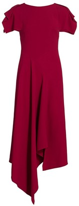 Roland Mouret Warren Asymmetric Ruffle Crepe Dress