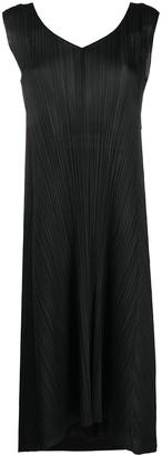 Pleats Please Issey Miyake sleeveless back-tie pleated dress