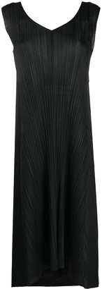 Pleats Please Issey Miyake Sleeveless Back-Tie Pleated Dress