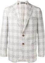 Eleventy checked, slim fitting blazer - men - Linen/Flax/Polyamide/Cupro - 48