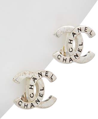 Chanel Silver-Tone & Crystal Cc Clip-On Earrings