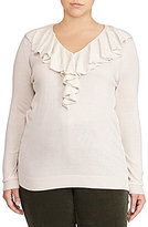 Lauren Ralph Lauren Plus Ruffled V-Neck Sweater