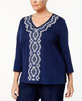 Alfred Dunner Plus Size Gypsy Moon Collection Embroidered Top