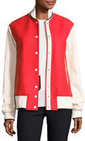 Rag & Bone Edith Wool-Blend Colorblock Varsity Jacket, Red/Ivory