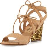 Paul Andrew Rhoda Suede Glitter-Heel Sandal, Nude