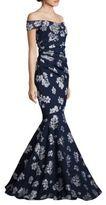 Badgley Mischka Off-The-Shoulder Floral-Print Gown