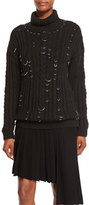 Thierry Mugler Pierced Chunky Turtleneck Sweater, Black