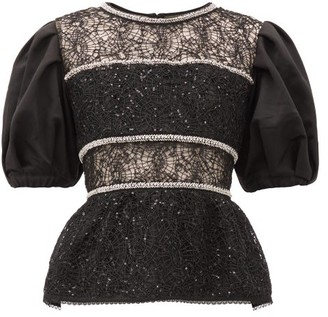 Self-Portrait Puff-sleeved Crystal-embellished Lace Top - Womens - Black