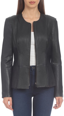 Badgley Mischka Genuine Leather Peplum Jacket