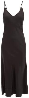 Lee Mathews Stella Raw-edged Silk-satin Slip Dress - Black