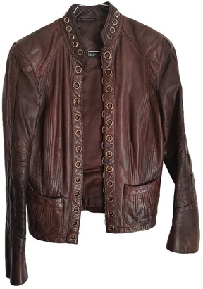 Topshop Tophop Brown Leather Leather Jacket for Women
