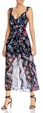 Rachel Zoe Paris Floral Print Ruffled Midi Dress
