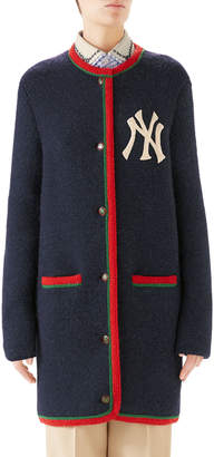 Gucci NY Yankees MLB Crewneck Cardigan w/ Back Logo Applique