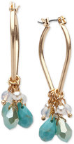lonna & lilly Gold-Tone Blue Bead Shaky Hoop Earrings